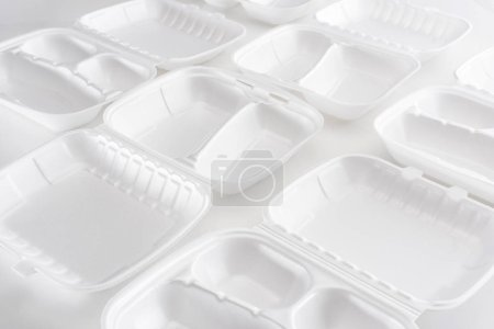 Photo for Empty eco packages for lunch on white background - Royalty Free Image