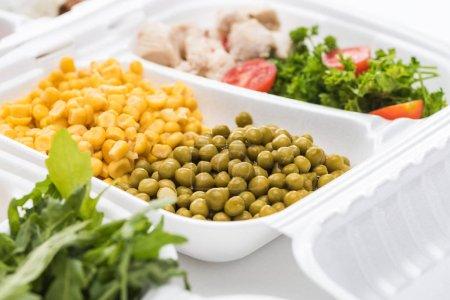 Photo pour Mise au point sélective de l'emballage écologique avec légumes, viande et salade sur fond blanc - image libre de droit