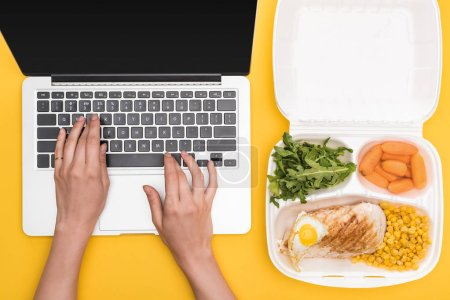 Photo for Cropped view of woman using laptop and eco package with vegetables, meat, fried egg and arugula isolated on yellow - Royalty Free Image