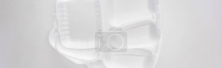 Photo for Panoramic shot of empty eco packages on white background - Royalty Free Image