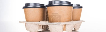 Photo for Panoramic shot of paper cups with coffee in cardboard tray on white background - Royalty Free Image