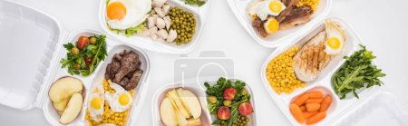 Photo for Panoramic shot of eco packages with apples, vegetables, meat, fried eggs and salads on white background - Royalty Free Image