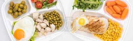 Photo for Panoramic shot of eco packages with vegetables, meat, fried eggs and salad on white background - Royalty Free Image