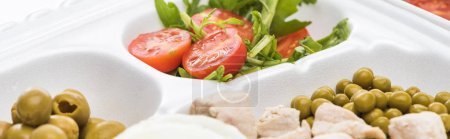 Photo for Panoramic shot of eco package with vegetables, meat and salad on white background - Royalty Free Image