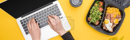 Photo for Panoramic shot of woman using laptop with eco package isolated on yellow - Royalty Free Image