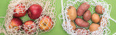 """Постер, картина, фотообои """"верхний вид яблок и картофеля в строке мешки изолированы на зеленый"""""""