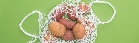 Photo for Top view of potato in eco friendly bag isolated on green - Royalty Free Image