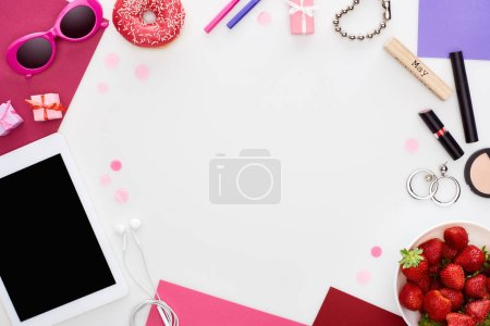 Photo for Fresh strawberry, sunglasses, digital tablet, wristwatch, gift boxes, cosmetics, earrings, donut, gouache paint, wooden block with may inscription isolated on white - Royalty Free Image