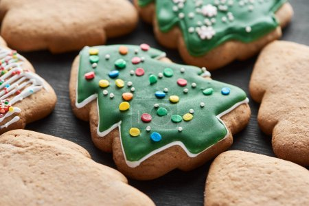 Photo for Close up view of delicious glazed Christmas tree cookies - Royalty Free Image
