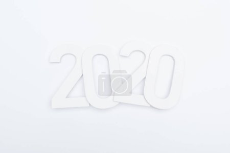 top view of paper 2020 numbers on white background