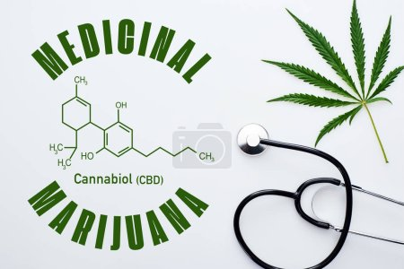 Photo pour Top view of medical cannabis leaf near stethoscope on white background with cbd molecule illustration - image libre de droit