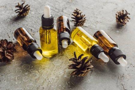 Photo pour Bouteilles à huile naturelle près de cônes d'épinette secs sur une surface de pierre grise - image libre de droit