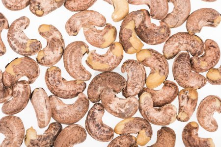 Photo for Top view of cashew nuts isolated on white - Royalty Free Image