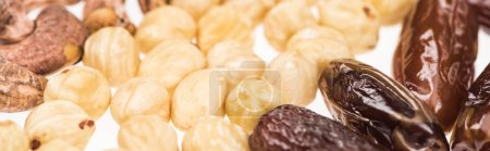 Photo for Close up view of dried dates, hazelnut and cashew isolated on white, panoramic shot - Royalty Free Image