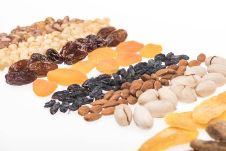 Photo for Assorted turkish dried fruits and nuts isolated on white - Royalty Free Image