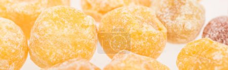 Photo for Close up view of dried Chinese tangerine isolated on white, panoramic shot - Royalty Free Image