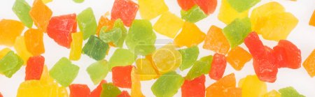 Photo for Top view of colorful delicious candied fruit isolated on white, panoramic shot - Royalty Free Image