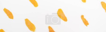 Photo for Top view of dried mango slices isolated on white, panoramic shot - Royalty Free Image