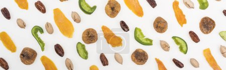 Photo pour Top view of fresh assorted nuts, dried fruits and candied fruit isolated on white, panoramic shot - image libre de droit