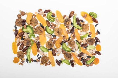 Photo for Top view of Turkish assorted nuts, dried fruits and candied fruit isolated on white - Royalty Free Image