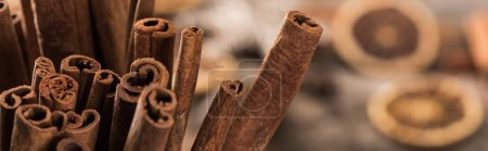 Photo for Close up view of aromatic fresh cinnamon sticks, panoramic shot - Royalty Free Image