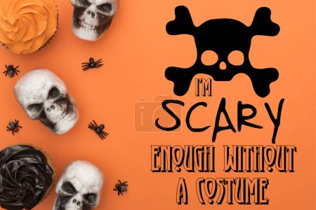 Photo pour Top view of cupcakes, decorative skulls and spiders on orange background with i am scary enough without a costume illustration - image libre de droit