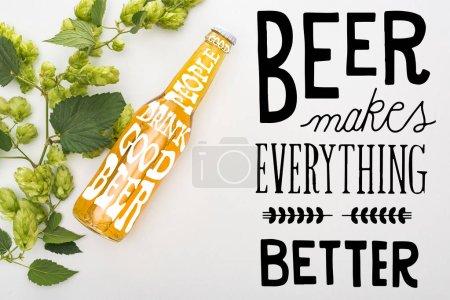 Photo pour Vue du dessus de la bière en bouteille avec houblon vert sur fond blanc avec bière noire rend tout meilleure illustration - image libre de droit