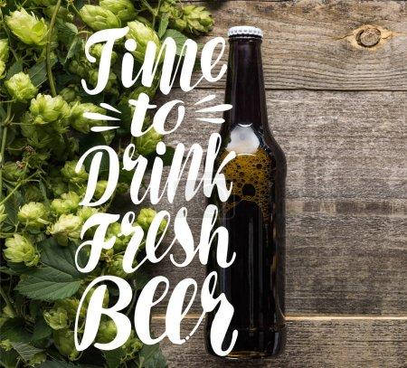 Photo pour Vue du dessus de la bière fraîche en bouteille avec houblon vert sur la surface en bois avec le temps de boire de la bière fraîche illustration - image libre de droit