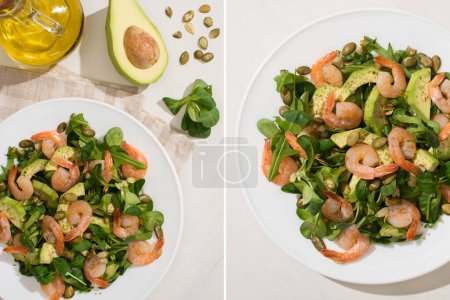 Photo for Collage of fresh green salad with pumpkin seeds, shrimps and avocado on plate on napkin near ingredients on white background - Royalty Free Image