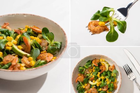 Photo for Collage of fresh green salad with corn, shrimps and avocado on plate with cutlery on white background - Royalty Free Image