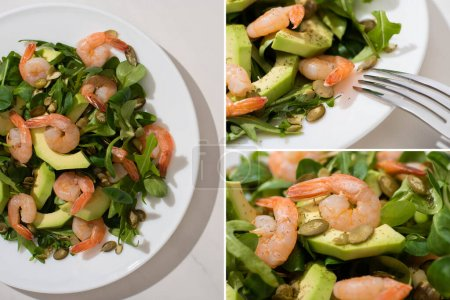 Photo for Collage of fresh green salad with pumpkin seeds, shrimps and avocado on plate and fork on white background - Royalty Free Image