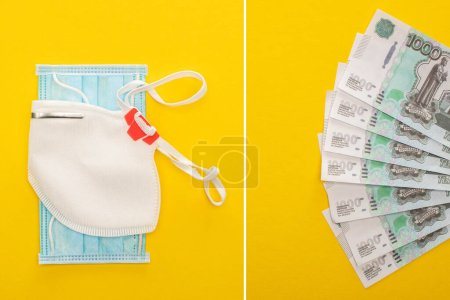 Photo for Top view of Russian money, safety and medical masks on yellow background, collage - Royalty Free Image