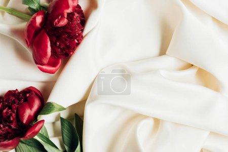Foto de Vista superior del ramo de pieles rojas sobre tela blanca - Imagen libre de derechos