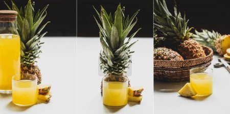 collage of fresh pineapple juice in bottle and glass near cut delicious fruit in bowl on white surface isolated on black