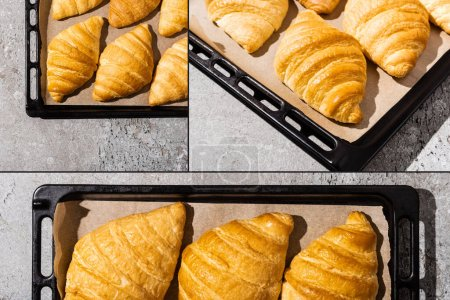 Photo for Collage of baked delicious croissants on baking tray on concrete grey surface - Royalty Free Image