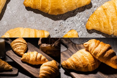 collage of fresh baked croissants on wooden cutting board and on concrete grey surface in dark