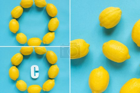 Photo for Top view of ripe yellow lemons and letter C on blue background, collage - Royalty Free Image