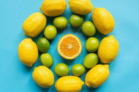 Foto de Vista superior de limones amarillos maduros, naranjas y limas dispuestas en círculos sobre fondo azul - Imagen libre de derechos