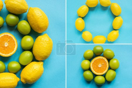 Photo pour Vue du dessus des citrons jaunes mûrs, orange et citrons verts disposés en cercles sur fond bleu, collage - image libre de droit