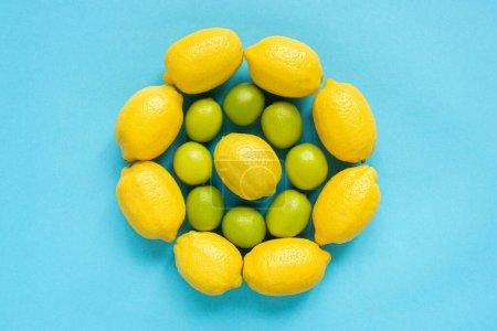 Foto de Vista superior de limones y limas amarillos maduros dispuestos en círculos sobre fondo azul - Imagen libre de derechos