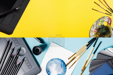 Photo for Collage of graphics tablet, color pencils and watercolor drawing on blue and yellow surface - Royalty Free Image