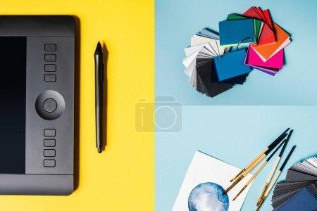 Photo pour Collage de tablettes graphiques, d'échantillons de couleurs et de pinceaux avec aquarelle dessinés sur une surface bleue et jaune - image libre de droit