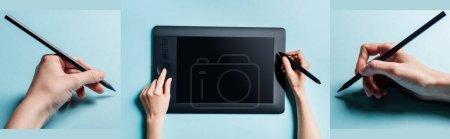Foto de Collage del hombre utilizando gráficos tableta y la celebración de lápiz de color sobre fondo azul - Imagen libre de derechos
