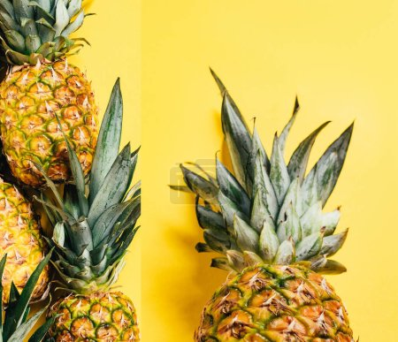 collage of fresh ripe pineapples with green leaves on yellow background