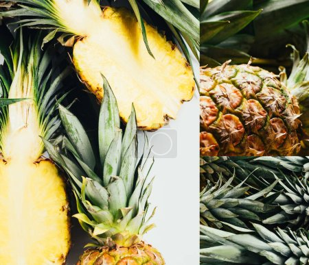 Photo for Collage of ripe pineapples with green leaves on white background - Royalty Free Image