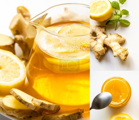 Photo for Collage of hot tea near honey, ginger root, lemon and mint on white background - Royalty Free Image