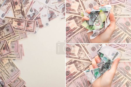 Foto de KYIV, UKRAINE - MARCH 25, 2020: collage of holding crumpled russian ruble banknotes near dollars isolated on white. - Imagen libre de derechos