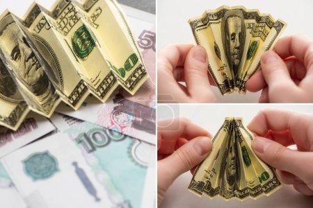 Photo pour Collage de femme tenant des billets froissés en dollars près de roubles russes sur blanc - image libre de droit