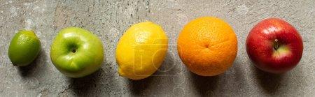 Photo pour Vue de dessus des fruits colorés savoureux sur la surface en béton gris, vue panoramique - image libre de droit