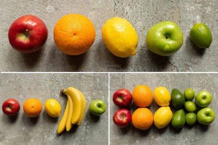 Photo for Top view of tasty colorful fruits on grey concrete surface, collage - Royalty Free Image